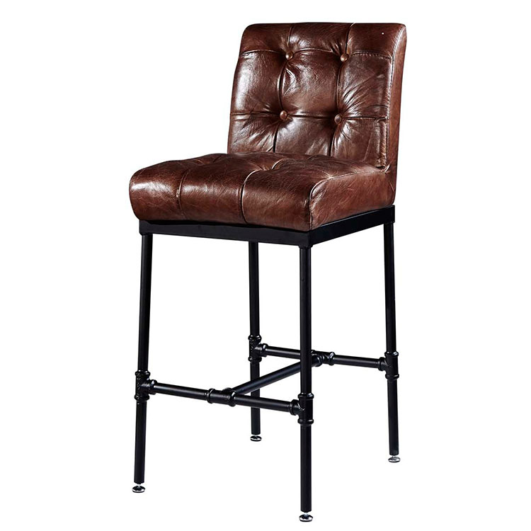 Commercial Antique Genuine Leather Iron Frame Bar Stool High Chairs