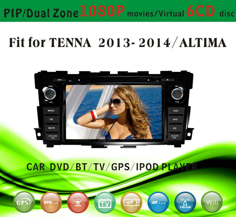 dvd car audio navigation system fit for Nissan Tenna Altima 2013 2014 with radio bluetooth gps tv pip dual zone
