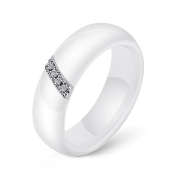 Fashion White Black Ceramic Rings Simple Style Smooth Surface Inlaid Zircon Women Ring