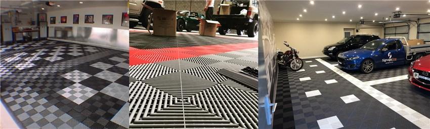 Kosteneffectieve grijpende plastic vloertegels voor carwash, licht gewicht auto showroom vloertegels