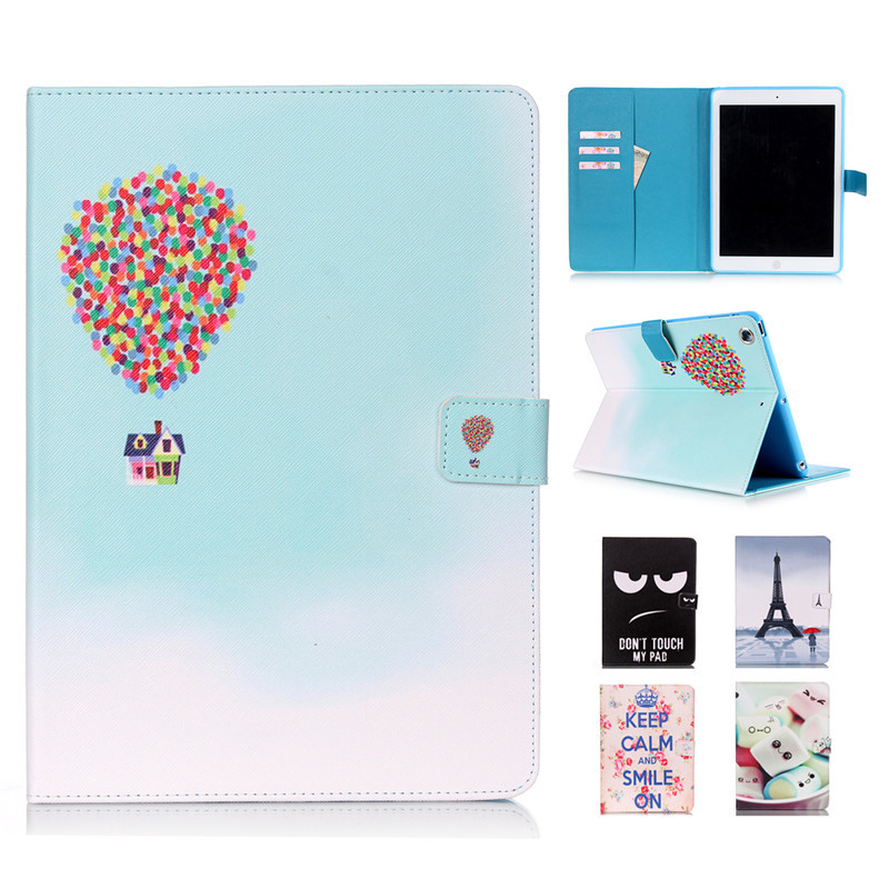 For Funda iPad Air Cute Cartoon Patterns Magnetic Pu Leather Flip Stand Tablet Case For Apple iPad 5 Air Case Floral Smart Cover