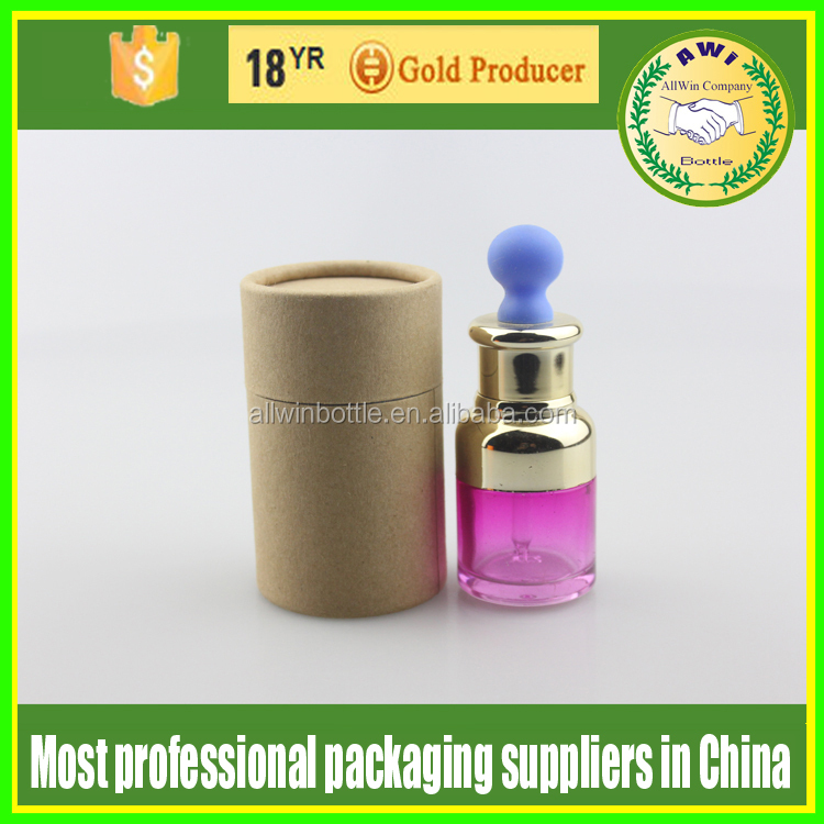 wholesale glass cosmetic dropper bottles with paper tube packaging