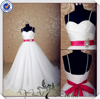 Jj3566 Sweetheart Ball Gown Red And White Wedding Dresses With Red ...