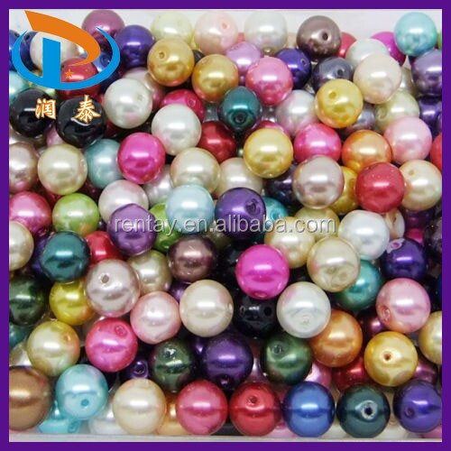 Factory Direct Sell Bulk Loose 4MM, 5MM, 6MM, 8MM Mix Colors Plastic ABS Pearl Beads