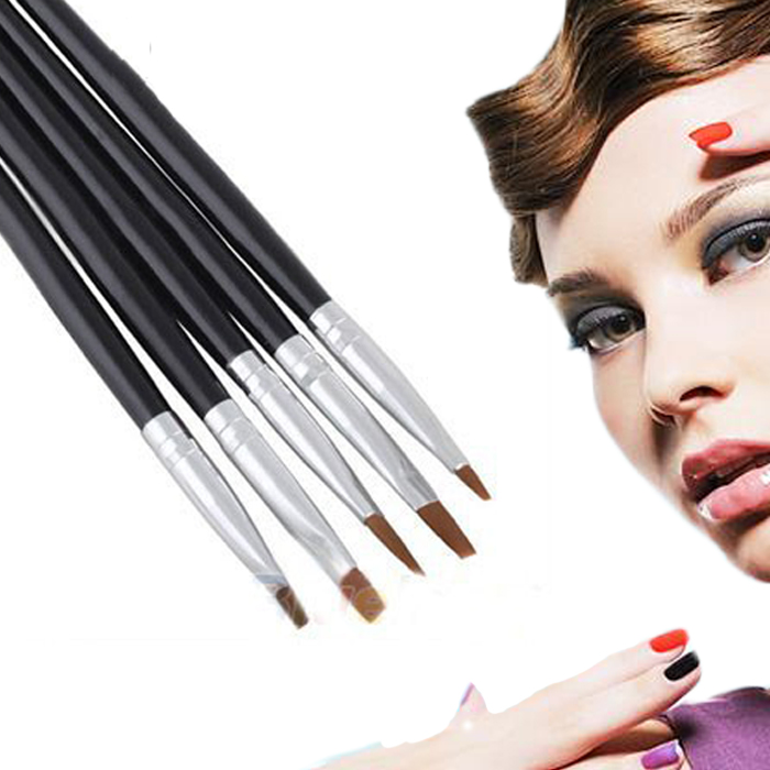 Fashion Styling 5Pcs/Set Beauty Fashion Pro Nail Art Decoration Painting Pen Acrylic UV Gel Tool Design Flat Brush
