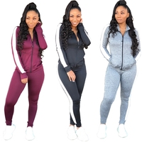 striped side zip coat long pants two piece sports training wear women jogging suits wholesale