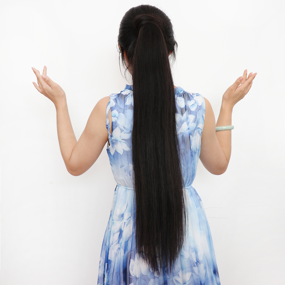 Wholesale 26 inch long brazilian ponytail extensions human hair wrap around ponytail yaki фото