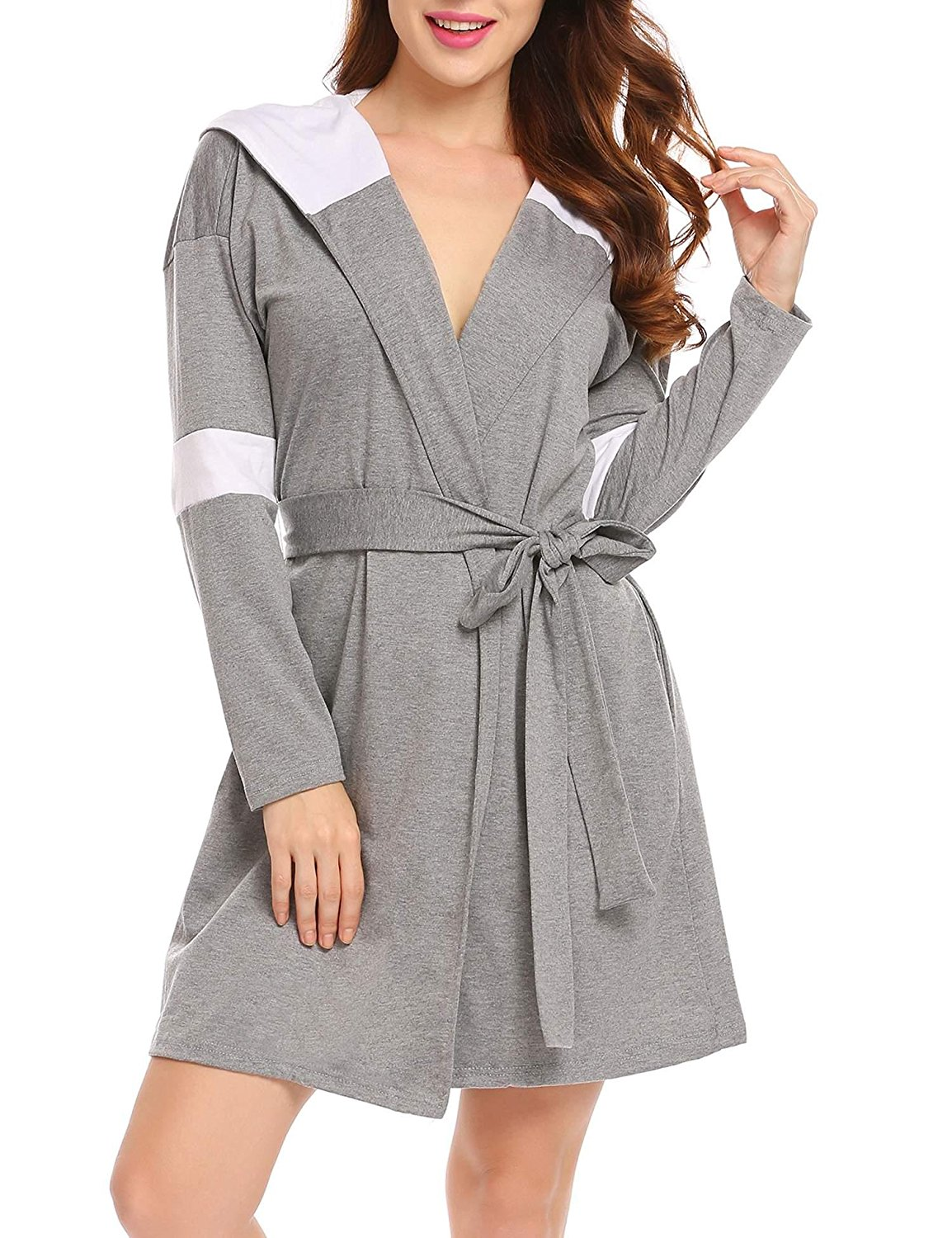 b42a617e4e Get Quotations · Women Long Sleeve Hooded Bathrobe Patchwork Belted Robes