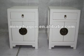 Chinese Reproduction White Bedside Small Cabinet