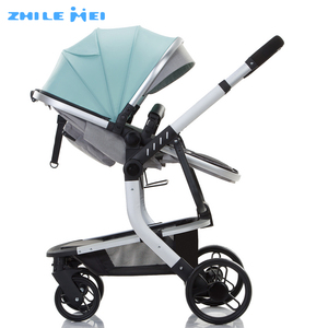 Zhilemei Aluminum Alloy Big Wheel Luxury Baby Carriage 2 In 1 Baby Stroller