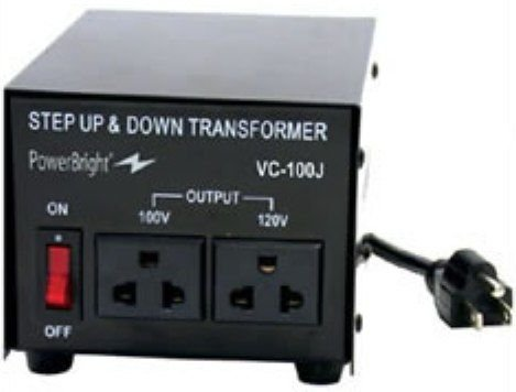 PowerBright VC100J 100W Step Up & Down Japan Transformer, Power ON/OFF Switch, Can be used in 120 volt countries and 100 volt countries, Convert from 120 volt to 100 volt AND 100 volt to 120 volt