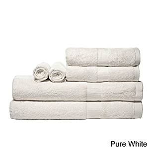Luxurious Rayon From Bamboo Super-absorbent Solid 6-piece Towel Set (Pure White)
