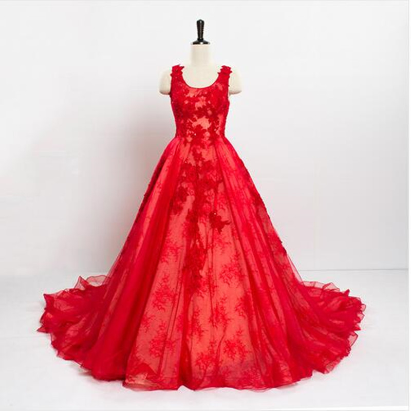 Vintage Wedding Dresses Red: 2016 Vintage Lace China Red Wedding Dresses Long Tail A