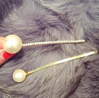 latest design gold pearl hair pin crystal hair pin fashionable braid hair ornaments