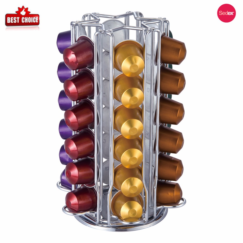 36 Pods Capacity Coffee Chrome Wire Rotating Nespresso Capsule Holder