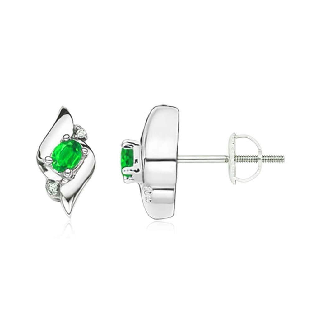 c76d9db1e Get Quotations · luxrygold Oval Cut Green Emerald & White Cz Women's &  Girls Infinity Stud Earrings 14k White