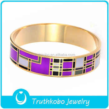 Rose Gold Plated Bracelet Enamel Cloisonne Bracelets Chevron Bangle