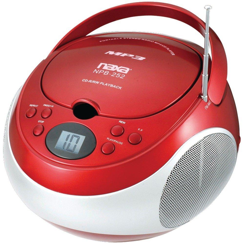 NAXNPB252RD - NAXA NPB252RD Portable CD MP3 Player with AM FM Stereo (Red)