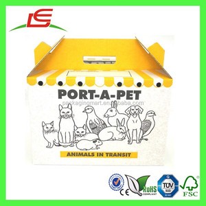 Q1337 Customized Paper Made Portable Dog Carrier, Cardboard Cat Carrier, Corrugated Cat Carrying Box