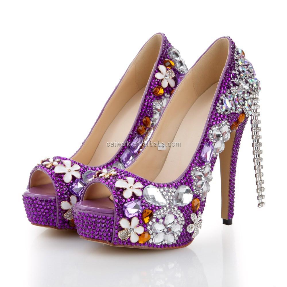 Purple Heels With Rhinestones