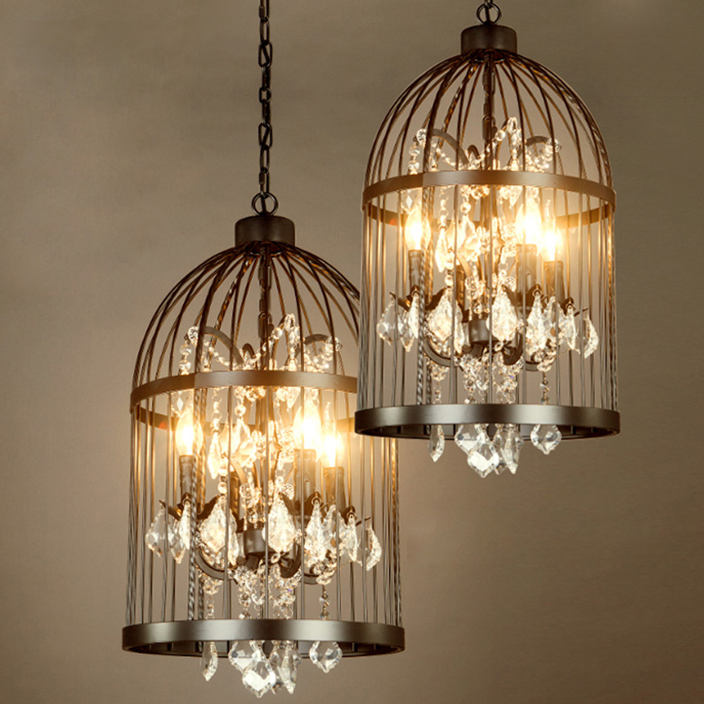 Iron cage crystal chandeliers traditional rustic pendant lights birds cage industrial vintage pendant lamps buy crystal chandeliercrystal