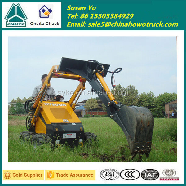 Popular Mini Skid Steer Loader with 4 in 1 Bucket, HY380 Mini Digger
