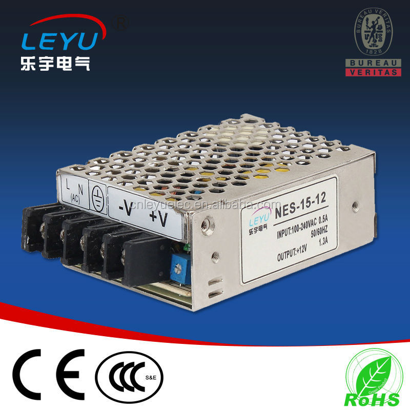 High efficiency 15w single output mini size power supply NES-15w -12v AC input full range used for the world
