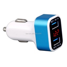 baterry car charger 2-usb 5v 3a for mobile phone with led