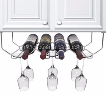 Under Cabinet Mounted Metal Wine Bottle Racks With Glass Holders