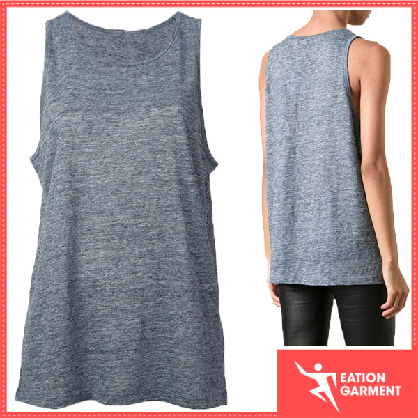 custom made blank singlet cooling cheap life vest light blue linen loose fit tank top womens
