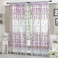 Home Office Gordijn Bloem Print Divider Tule Voile Drape Panel Sheer Sjaal Valletjes <span class=keywords><strong>Gordijnen</strong></span>