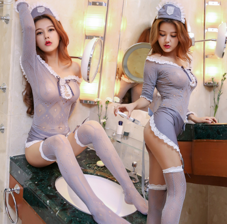 Alibaba.com / Women's Sexy School Uniform Cosplay Costume Stretchy See Through Lingerie Set