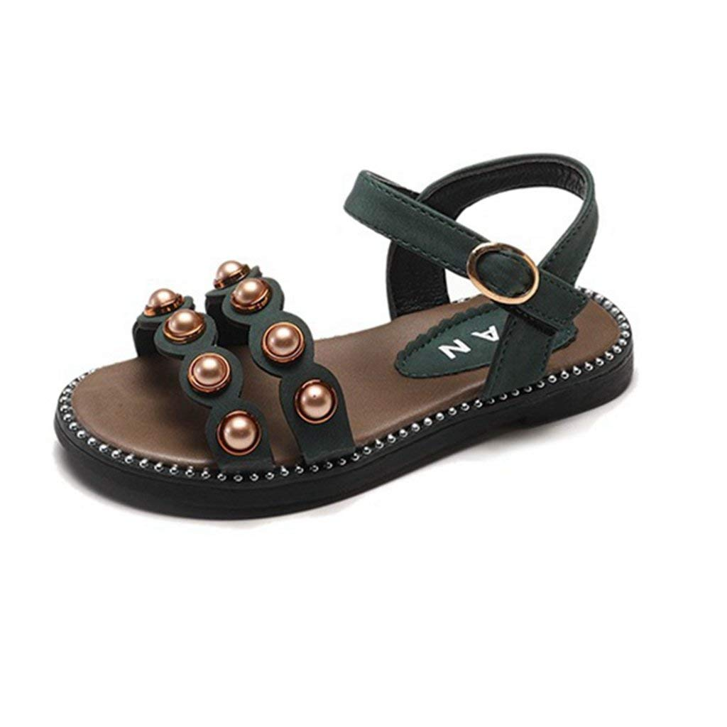 f13b5cf6fba34 Get Quotations · Girl s Pearl Open Toe Strap Sandal Kid Soft Rubber Sole  Flat Princess Casual Sandals Shoes