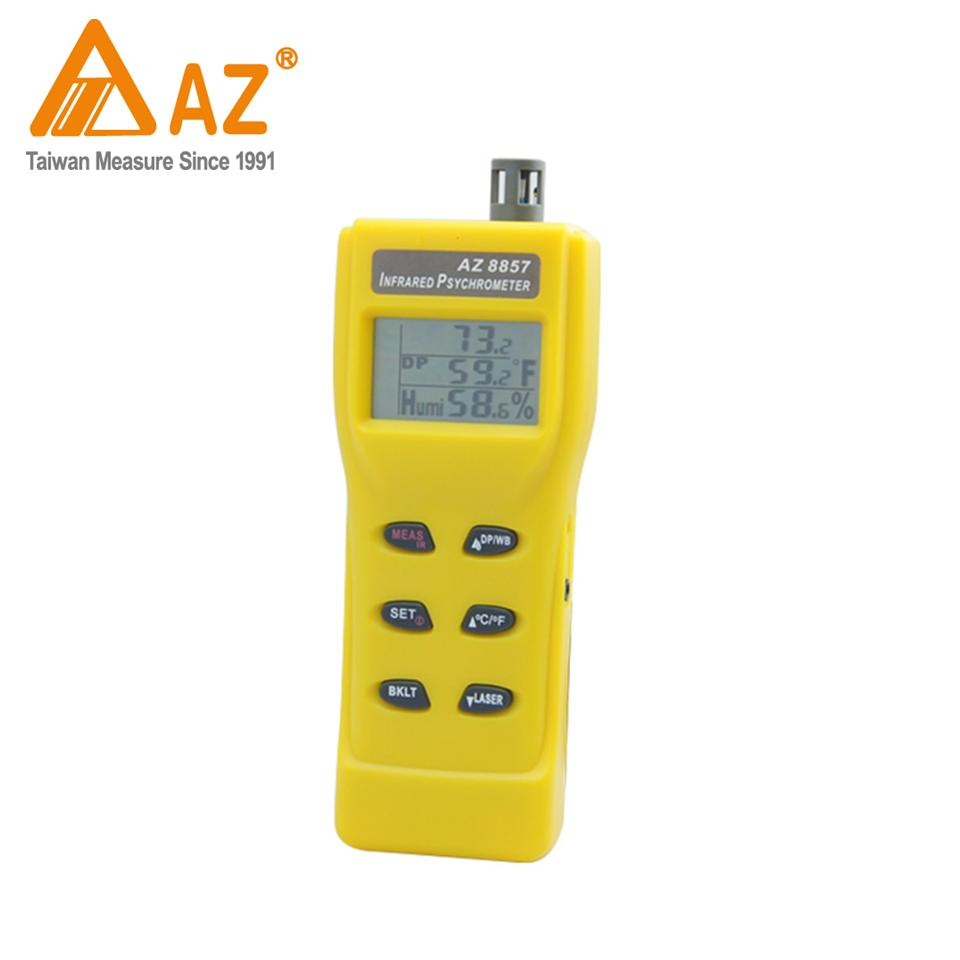 8857AZ Handheld IR Humidity Hygrometer Gear Damper Device Emissivity Adjustable