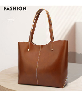 Vintage women large shoulder tote bag Big leather handbag women's Brown black retro casual hand bags china for woman