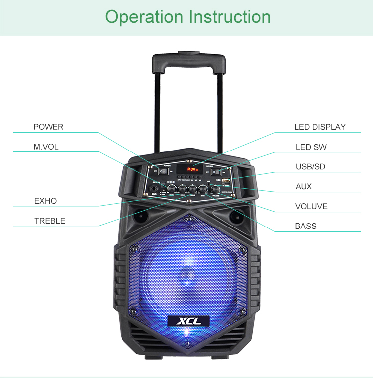 High quality 8 Inch Trolley Speaker Rechargeable Powered Party Speaker with Mic