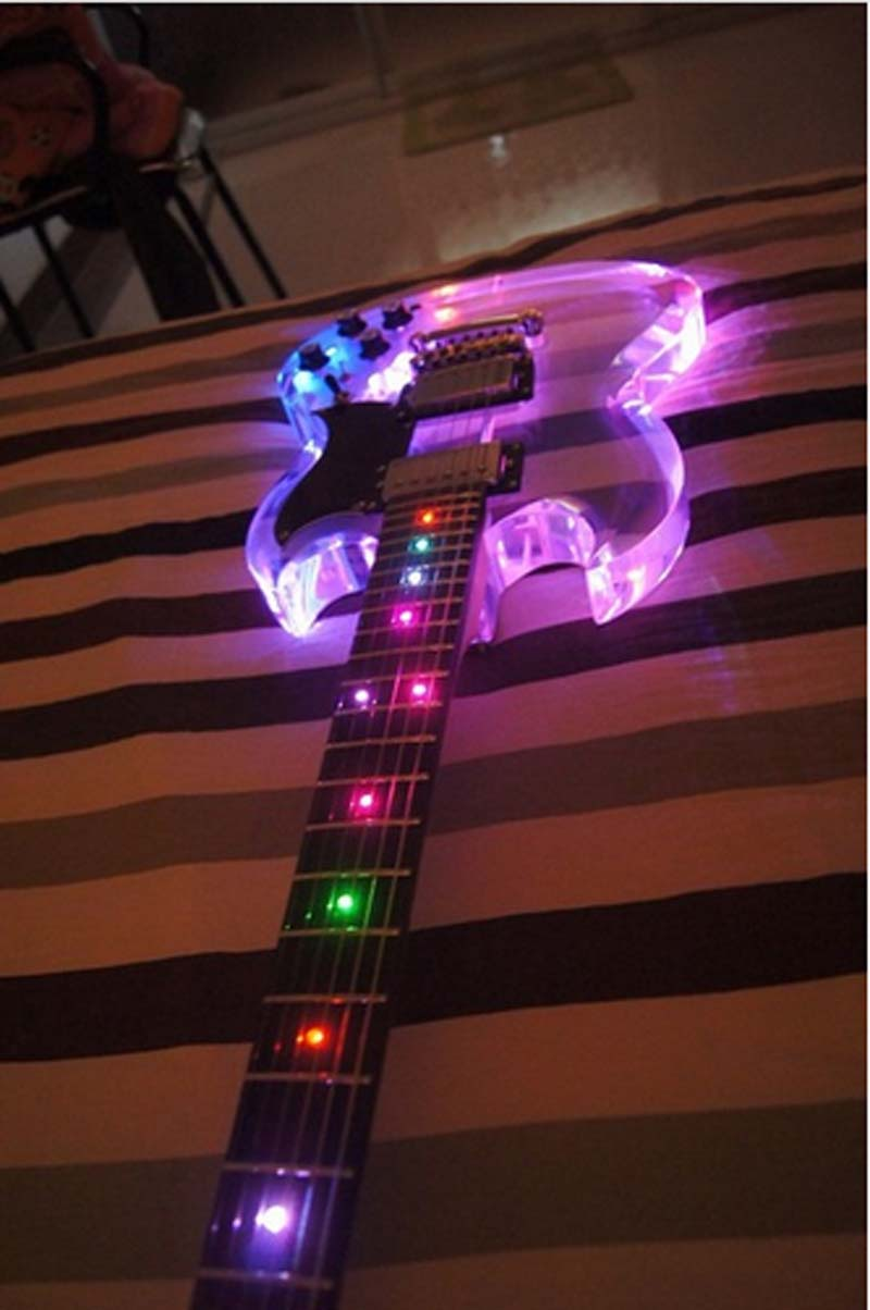 free shipping sg led light acrylic body electric guitar fret light guitar in guitar from sports. Black Bedroom Furniture Sets. Home Design Ideas