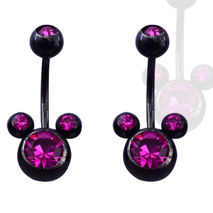 Fashion purple color Mickey classical navel piercing gold free belly button rings