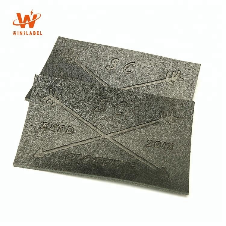 Wholesale Factory Direct Custom Garment Embossed Jeans Brand Logos Denim PU Fake Leather Patches