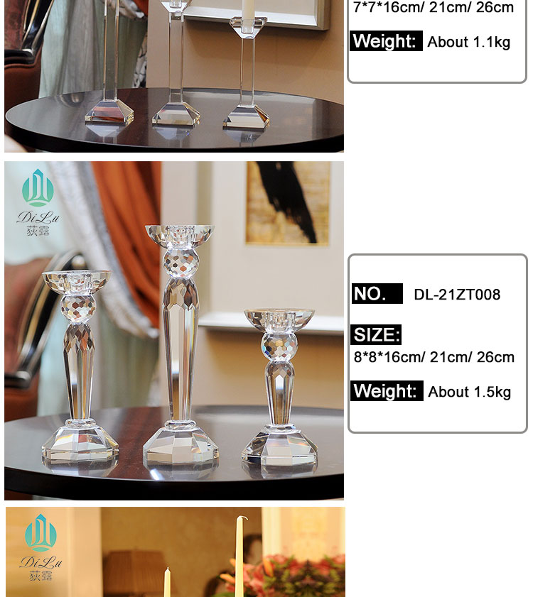 Wholesale Cheap Single Long-stemmed K9 Crystal Glass candle holder Candlestick for decorative table lamp/candle holder