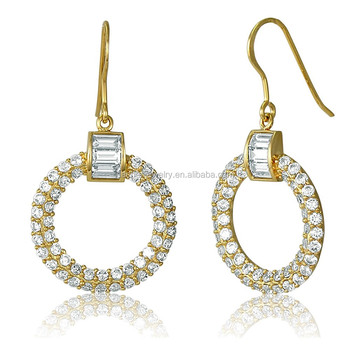 Gold And Silver Fake Diamond Hoop Earrings 925 Sterling
