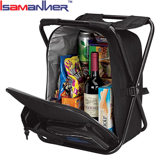 Outdoor cooler bag chair lightweight insulated backpack with folding chair
