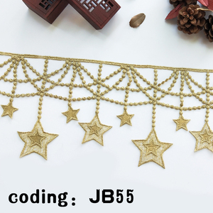 fashion Indian garment decoration golden star embroidery lace trim wholesale