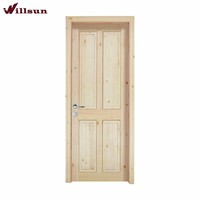 Clear Pine Wood 4 Panel Unfinished Interior Solid Wood Door