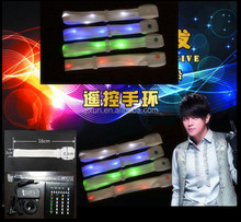 Paypal accept programmable remote controlled nylon braided led bracelet for concerts