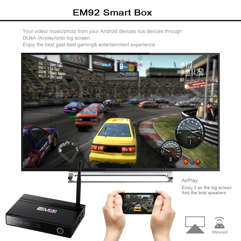 Custom Logo Octa Core Smart Internet TV Box EM92 Octa Core OTA