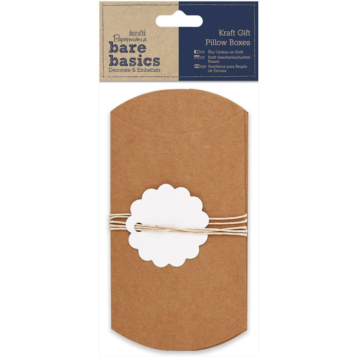 docrafts Papermania Bare Basics Gift Pillow Boxes, Kraft