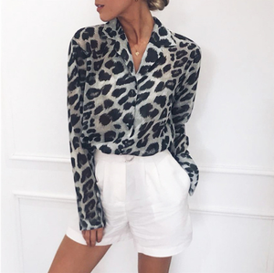 2019 Women  Blouse Long Sleeve Sexy Leopard Print Blouse Turn Down Collar Lady Office Shirt Tunic Casual  Tops Plus Size Blusas