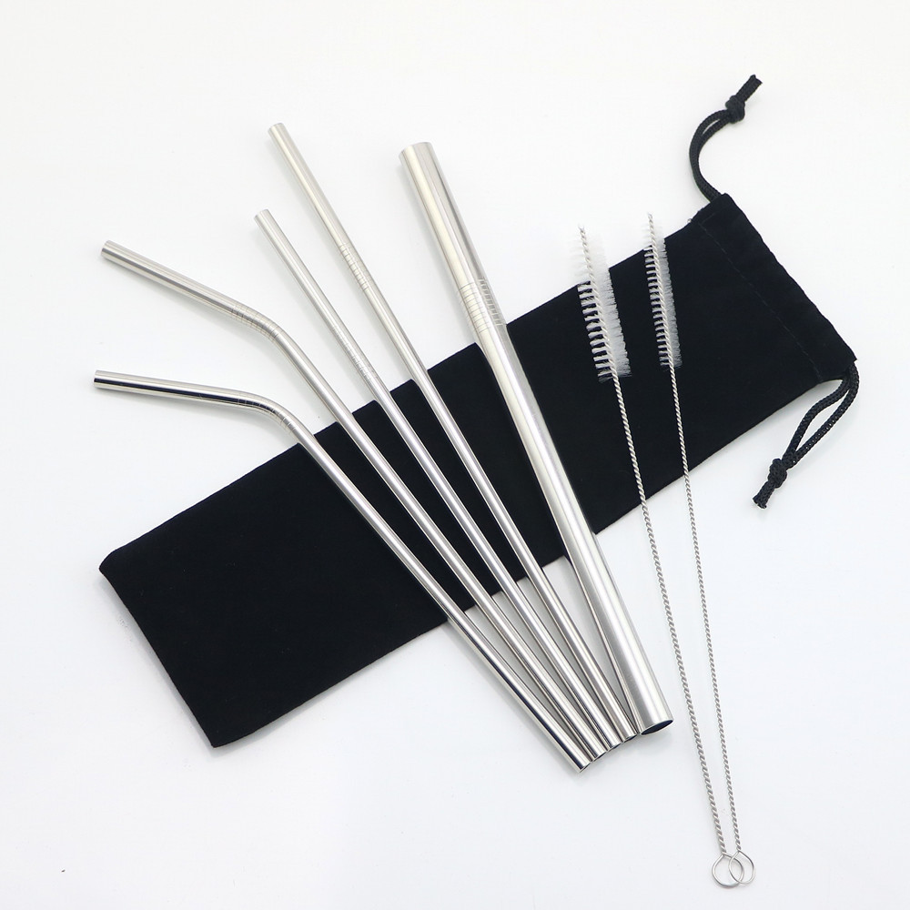 Black Stainless Steel Straw Straight With Logo