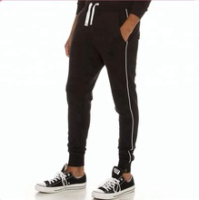 Mens black custom gestreepte skinny joggingbroek